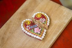 Traditional Slovenian gingerbread heart named LECT. Traditional Slovenian gingerbread heart with Slovenia written on it. Named LECTOV SRČEK in Slovenian Royalty Free Stock Photography