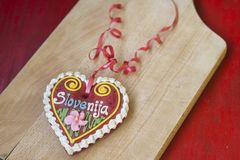 Traditional Slovenian gingerbread heart named LECT. Traditional Slovenian gingerbread heart with Slovenia written on it. Named LECTOVO SRČEK in Slovenian Stock Images