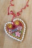 Traditional Slovenian gingerbread heart named LECT. Traditional Slovenian gingerbread heart with Slovenia written on it. Named LECTOVO SRČEK in Slovenian Stock Image