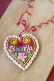 Traditional Slovenian gingerbread heart named LECT. Traditional Slovenian gingerbread heart with Slovenia written on it. Named LECTOVO SRČEK in Slovenian Royalty Free Stock Photos