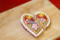 Traditional Slovenian gingerbread heart named LECT. Traditional Slovenian gingerbread heart with Slovenia written on it. Named LECTOVO SRČEK in Slovenian Stock Photography
