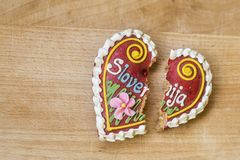Traditional Slovenian gingerbread heart named LECT. Traditional Slovenian gingerbread heart with Slovenia written on it. Named LECTOVO SRČEK in Slovenian Royalty Free Stock Photography