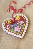 Traditional Slovenian gingerbread heart named LECT. Traditional Slovenian gingerbread heart with Slovenia written on it. Named LECTOV SRČEK in Slovenian Stock Photos