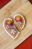 Traditional Slovenian gingerbread heart named LECT. Traditional Slovenian gingerbread heart with Slovenia written on it. Named LECTOV SRČEK in Slovenian Royalty Free Stock Image