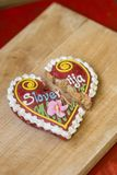Traditional Slovenian gingerbread heart named LECT. Traditional Slovenian gingerbread heart with Slovenia written on it. Named LECTOV SRČEK in Slovenian Royalty Free Stock Photo