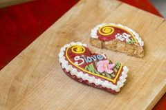 Traditional Slovenian gingerbread heart named LECT. Traditional Slovenian gingerbread heart with Slovenia written on it. Named LECTOVO SRČEK in Slovenian Stock Photos