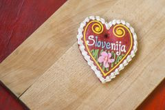 Traditional Slovenian gingerbread heart named LECT. Traditional Slovenian gingerbread heart with Slovenia written on it. Named LECTOVO SRČEK in Slovenian Royalty Free Stock Image