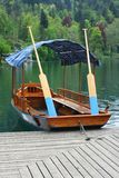 Traditional Slovenian wooden rowing boat Royalty Free Stock Photos