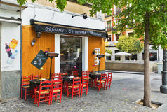 Traditional small cafe in Madrid Royalty Free Stock Photography
