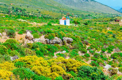 Traditional small Greek church and red roof Greece. Traditional small Greek church with red roof among bushes, Greece Royalty Free Stock Photography