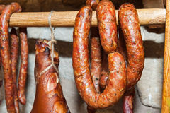 Traditional smoked sausages Royalty Free Stock Images