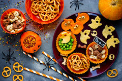 Traditional snack for Halloween, healthy and delicious party sna. Cking top view Stock Image