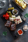 Traditional snacks salted herring with vegetables, onion, lard, bread, potato and two shots of vodka. Royalty Free Stock Images