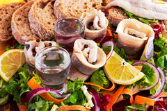 Traditional snacks salted herring with vegetables, onion, lemon, yellow lime, bread and two shots of vodka. Stock Image