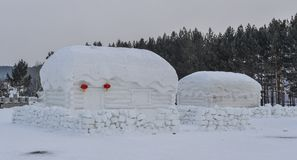 Traditional snow house at mountain village stock photography