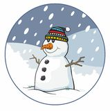 Traditional Snowman with Bobble Hat Stock Images