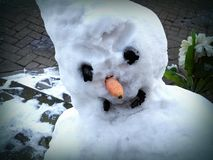 Traditional snowman Royalty Free Stock Photo