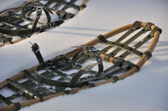Traditional snowshoes. Photo of snowshoes - you can walk on snow with them Royalty Free Stock Photography