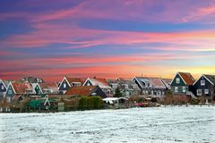 Traditional snowy houses in Marken the Netherlands Royalty Free Stock Photography