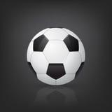 Traditional soccer ball on black background. Vector illustration. Stock Image