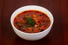 Traditional Solyanka soup. With meat Stock Photography