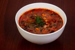 Traditional Solyanka soup. With meat stock photo