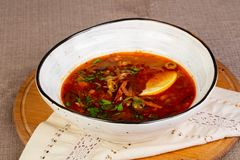 Traditional Solyanka soup. With meat stock images