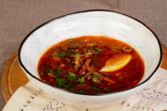 Traditional Solyanka soup. With meat royalty free stock image