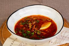 Traditional Solyanka soup. With meat royalty free stock images