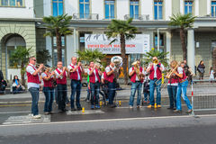 Traditional song to cheer up the marathon runners on the SWISS CITY MARATHON Royalty Free Stock Photo