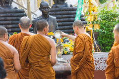The traditional Songkran festival at pour water onto Buddha imag Royalty Free Stock Photo
