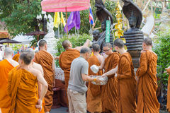 The traditional Songkran festival at pour water onto Buddha imag. CHIANG MAI ,THAILAND - APRIL 15 : The traditional Songkran festival at pour water onto Buddha stock photo