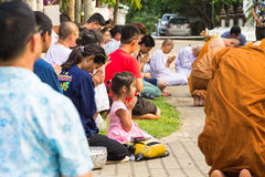 The traditional Songkran festival at pour water onto Buddha imag Stock Photo