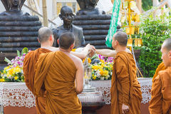 The traditional Songkran festival at pour water onto Buddha imag Royalty Free Stock Images