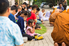 The traditional Songkran festival at pour water onto Buddha imag. CHIANG MAI ,THAILAND - APRIL 15 : The traditional Songkran festival at pour water onto Buddha royalty free stock images
