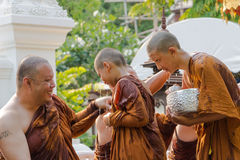 The traditional Songkran festival at pour water onto Buddha imag Stock Photography