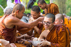 The traditional Songkran festival at pour water onto Buddha imag. CHIANG MAI ,THAILAND - APRIL 15 : The traditional Songkran festival at pour water onto Buddha Royalty Free Stock Image