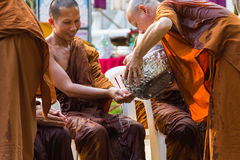 The traditional Songkran festival at pour water onto Buddha imag Royalty Free Stock Image