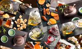 Traditional sorts of tea. In different cultures (collage stock image