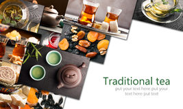Traditional sorts of tea. In different cultures (collage stock photo