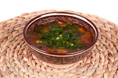 Traditional soup kharcho. Tasty soup on the table kharcho Royalty Free Stock Photo