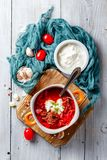 Borsch, beetroot soup royalty free stock photography