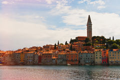 Traditional south european town. Classic mediterranean with cathedral, colorful houses and warm sea stock photos