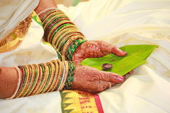The traditional South Indian Bride on her marriage attire, India Royalty Free Stock Photos