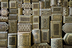 Traditional souvenir boxes in market of cairo egypt Stock Image