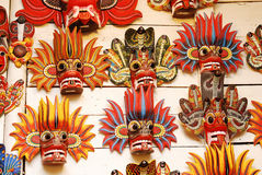 Traditional souvenir masks of the devil. At the shop Stock Photo