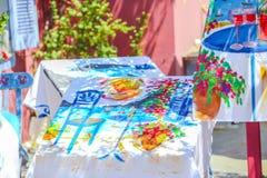 Traditional souvenirs of Fira town, Santorini Stock Photos