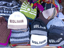 Traditional souvenirs at the market in La Paz, Bolivia. Stock Images