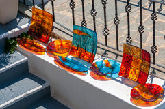 Traditional souvenirs of Oia town, Santorini island Royalty Free Stock Photo