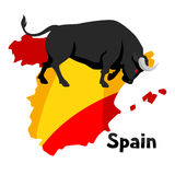 Traditional spanish corrida. Bull on background flag and map of Spain Stock Photos